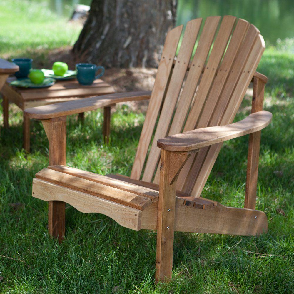 belham living hampton deluxe oak wood adirondack chair - a
