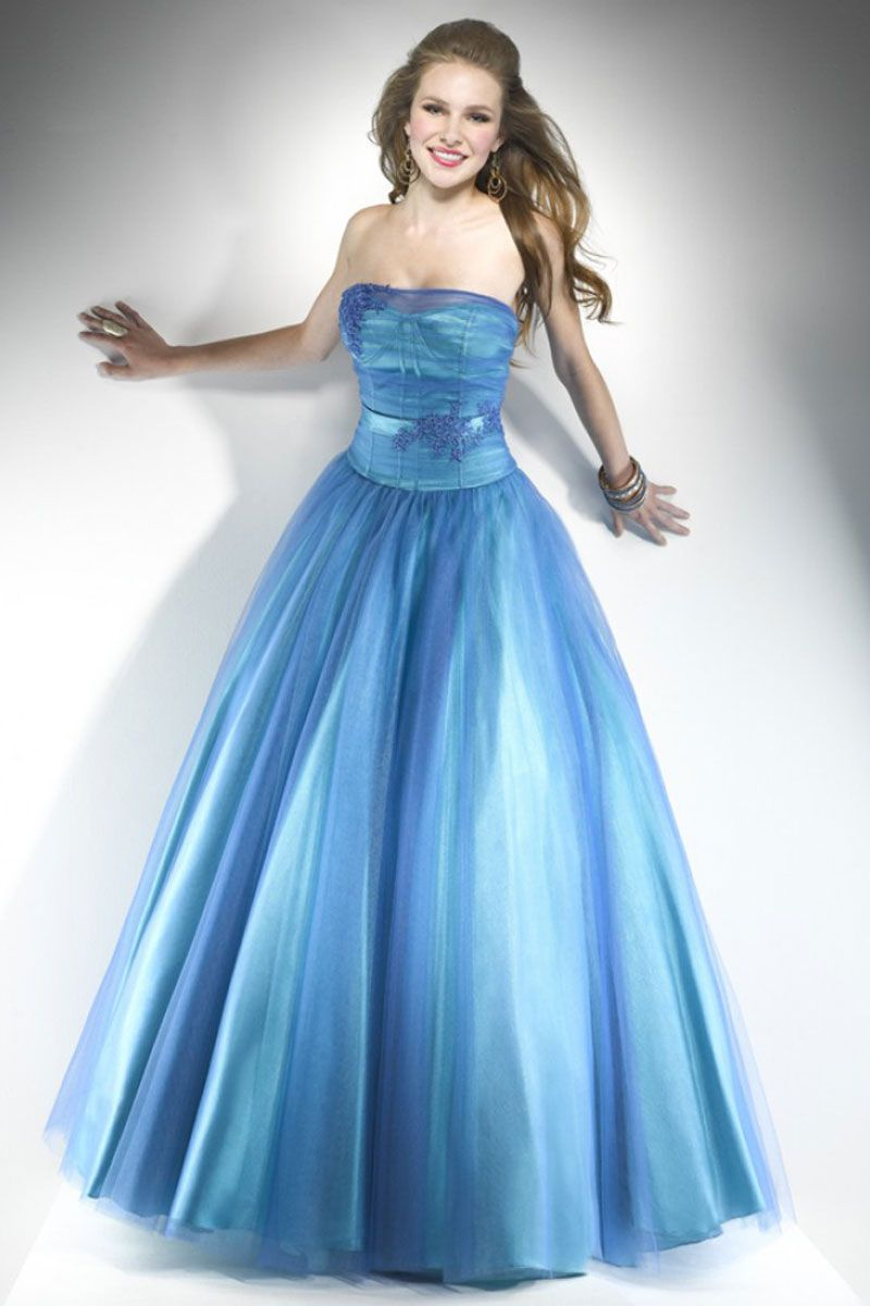 strapless natural waist tulle ball gown long prom dress ...