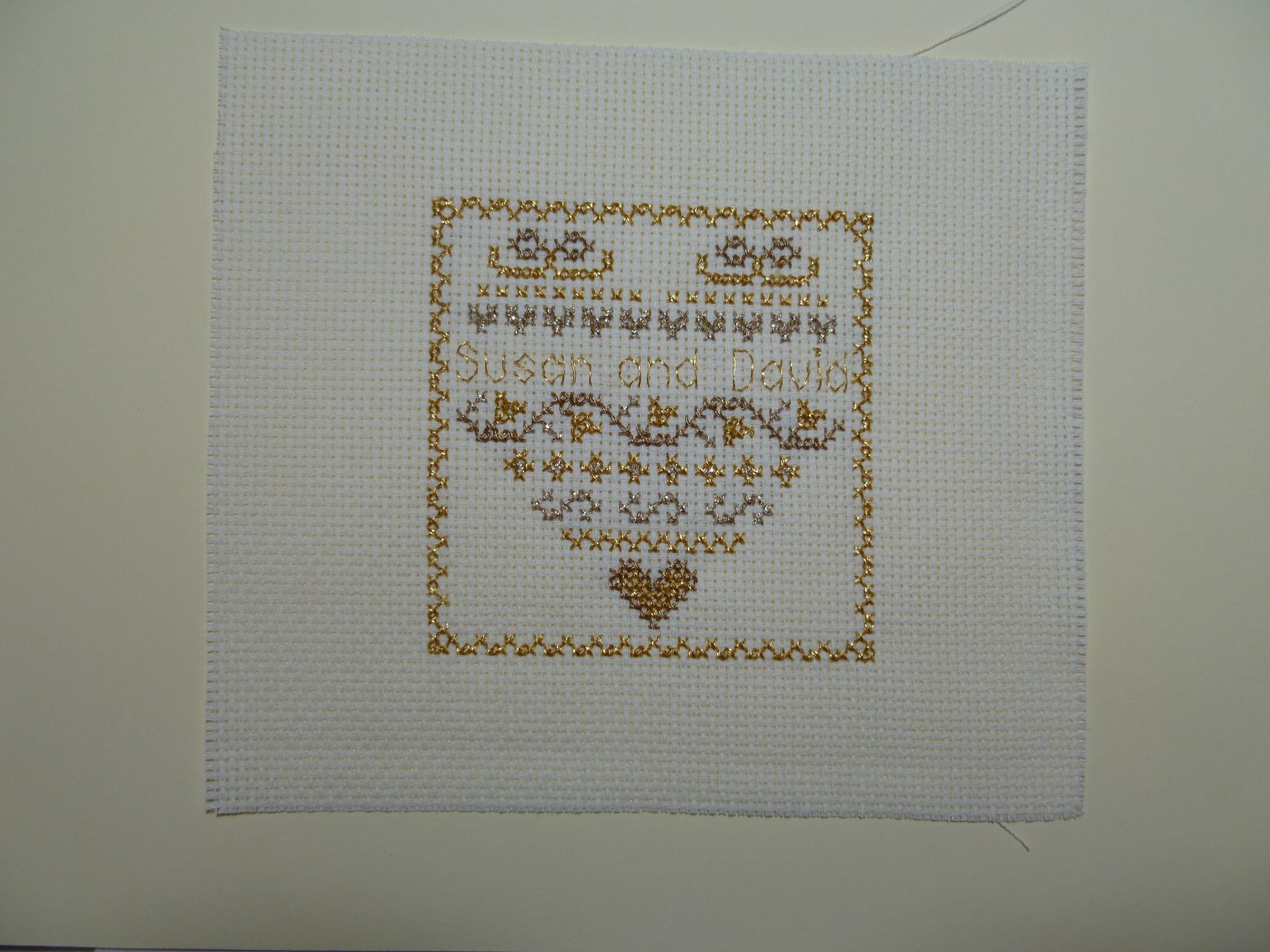 Finished golden wedding anniversary card embroidery
