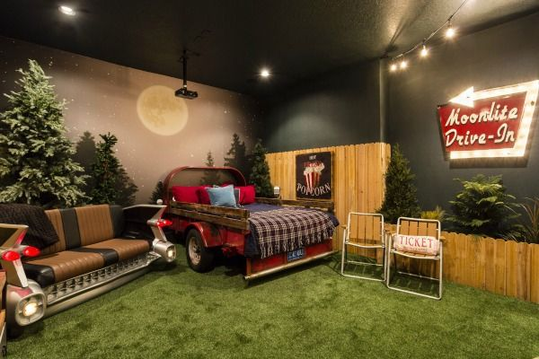 Decorating A Vacation Home With Creatively Themed Rooms Hooked On Houses At Home Movie Theater Home Theater Seating Home Theater Rooms