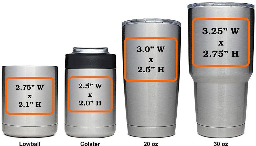 Marking Area on Customized YETI Rambler Cup decal