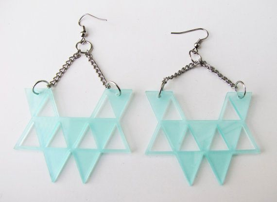 Triangle composition Clear Green Earrings by indomina on Etsy, $15.00  clear gree laser cut acrylic earrings