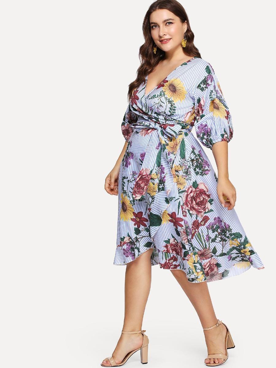 cb267d5a69 Surplice Wrap Floral & Striped Dress -SheIn(Sheinside) | Dresses in ...