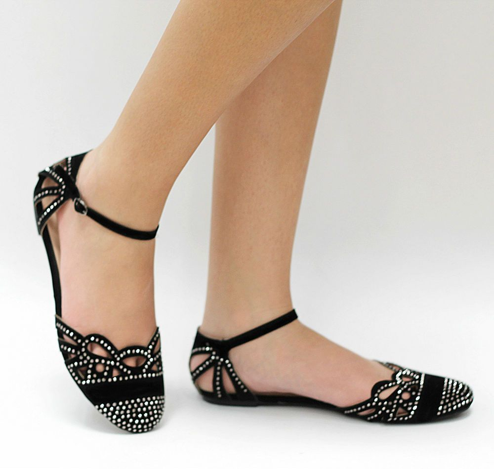Sandals honeymoon shoes with rhinestone - New Womens Black Rhinestone Mary Jane Ankle Strap Cutout Ballet Flat Sandals In Clothing Shoes Accessories Women S Shoes Flats Oxfords
