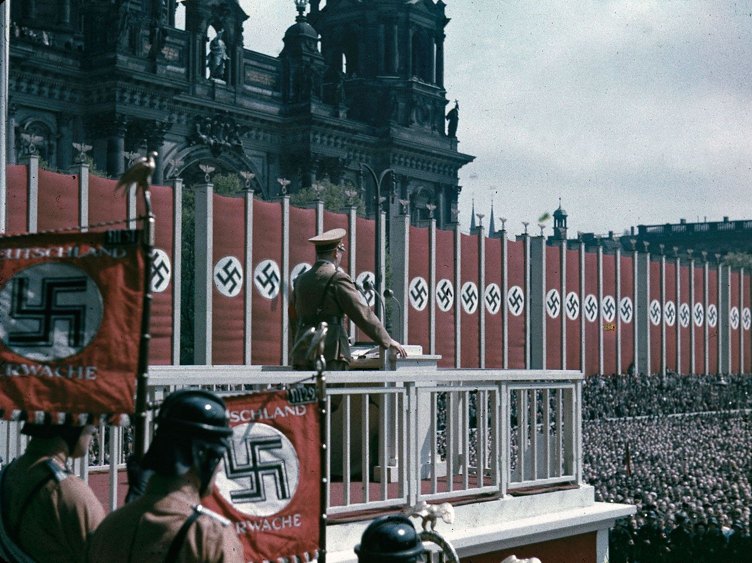 1938: Adolf Hitler speaking at the Lustgarten, Berlin - Found via LIFE.com NOTE: My pinning these does NOT mean I condone Nazism or what the Nazis have done. I am simply showing them due to their value as historical artifacts.