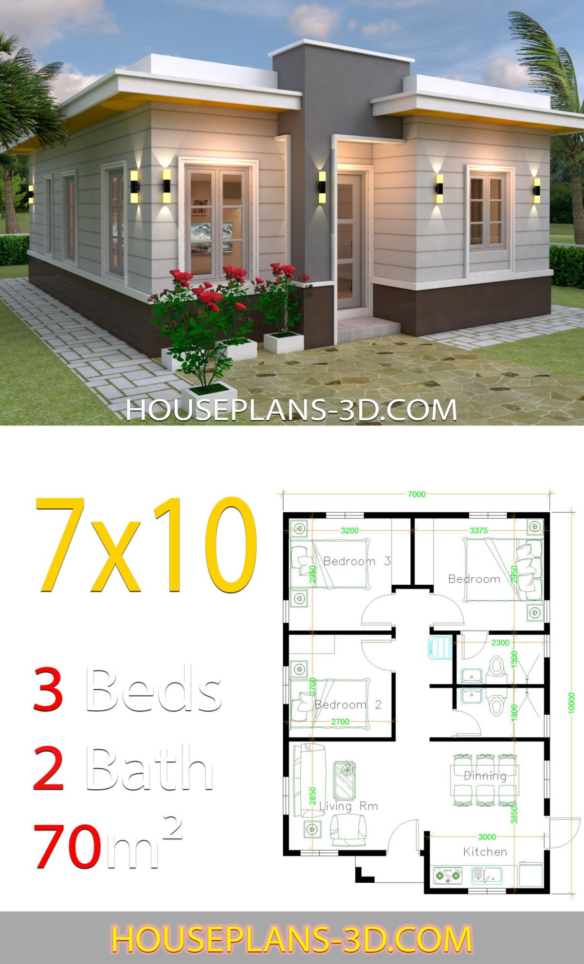 House Design 7x10 With 3 Bedrooms Terrace Roof House Plans 3d In 2020 House Plans Architectural House Plans Flat Roof House