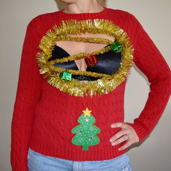 Sexy Ugly Christmas Sweater Womans Medium Boob Cut Out Chest