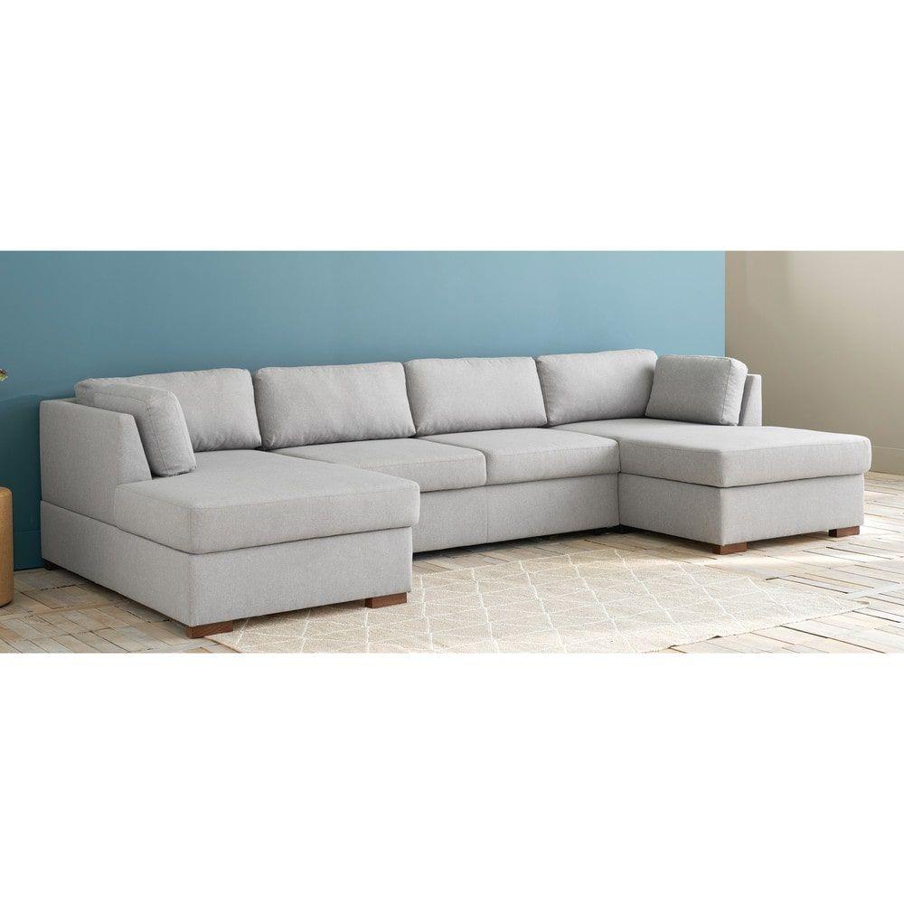 Light Grey 7 Seater U Shaped Sofa Bed Maisons Du Monde U Shaped Sofa U Shaped Sofa Bed Sofa Bed