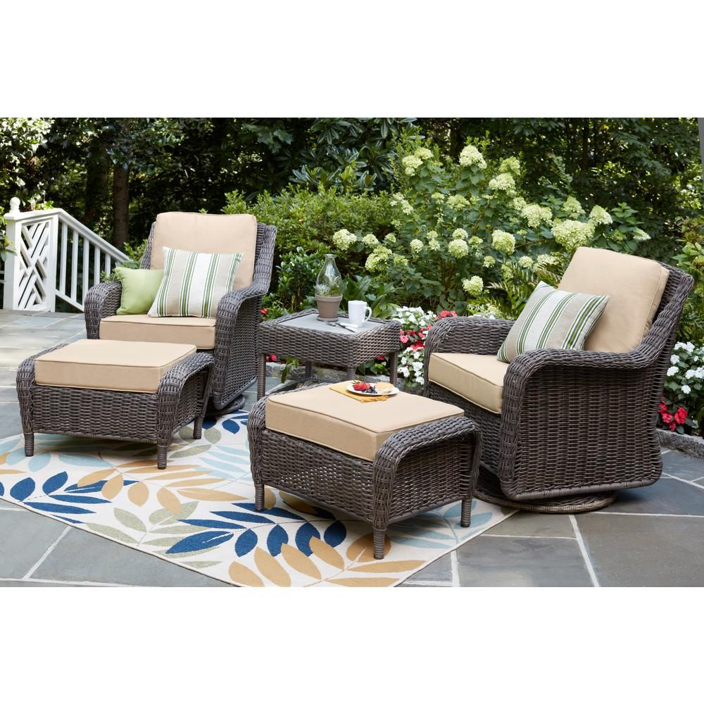 Fantastic Hampton Bay Cambridge Gray Wicker Outdoor Patio Swivel Caraccident5 Cool Chair Designs And Ideas Caraccident5Info
