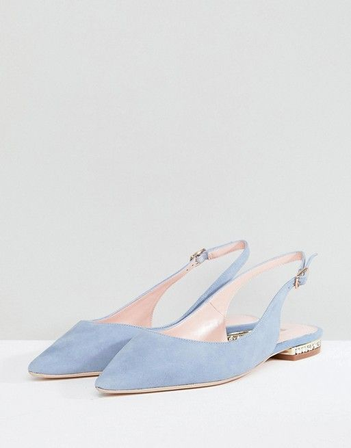 Dune London Flat Suede Shoe with Crystal Detail in Cornflower 4WnwC