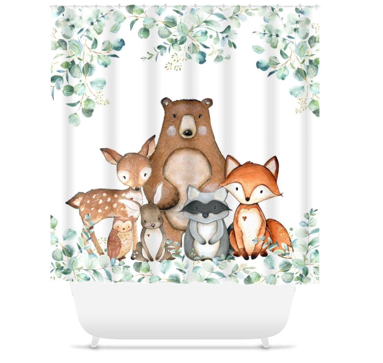 Woodland Animals Shower Curtain Woodland Forest Bath Kids Etsy In 2020 Animal Shower Curtain Girl Bathrooms Kids Bathroom