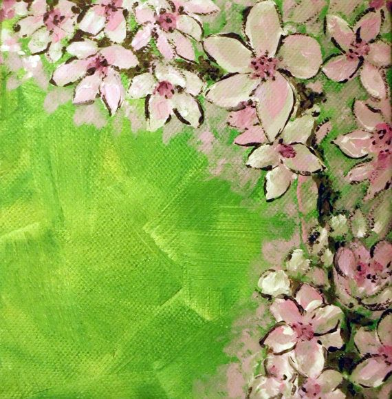 """Original painting acrylic on canvas, 21st in the """"Alphabet Floral"""" series Umbrella Plant"""