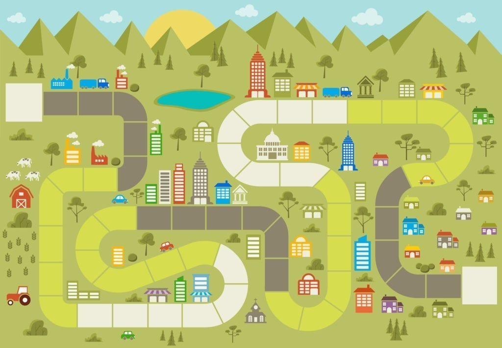 Neighborhood Navigator Board game template, Printable