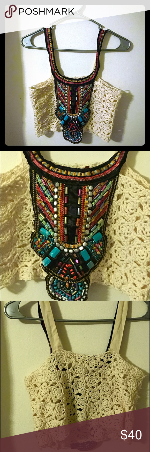 NWT Boho Crop Top❤️💚💙 New with tags. Not free people. Free People Tops Crop Tops
