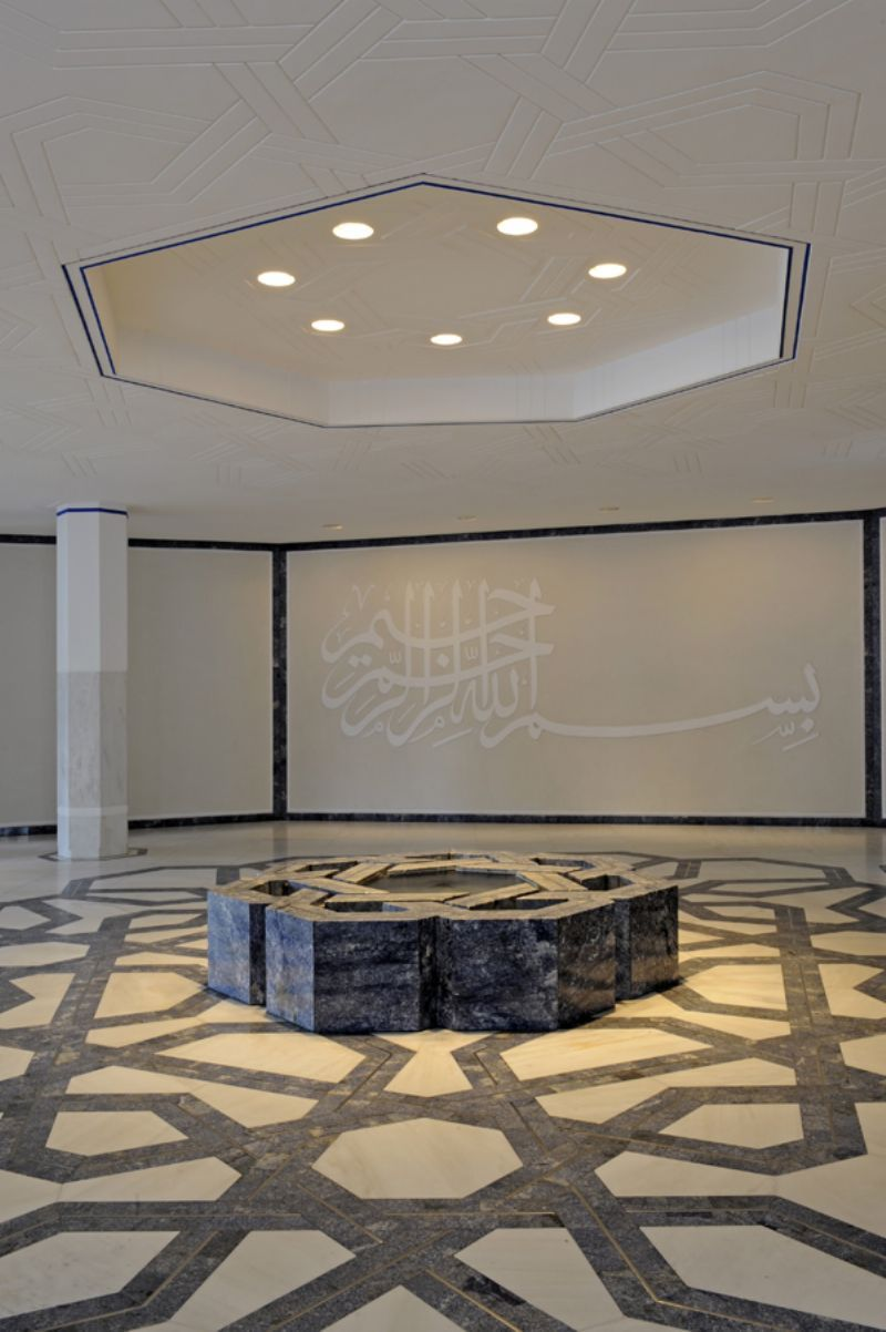 Ismaili centre london the fountain pool in the entrance for Pool design dessau