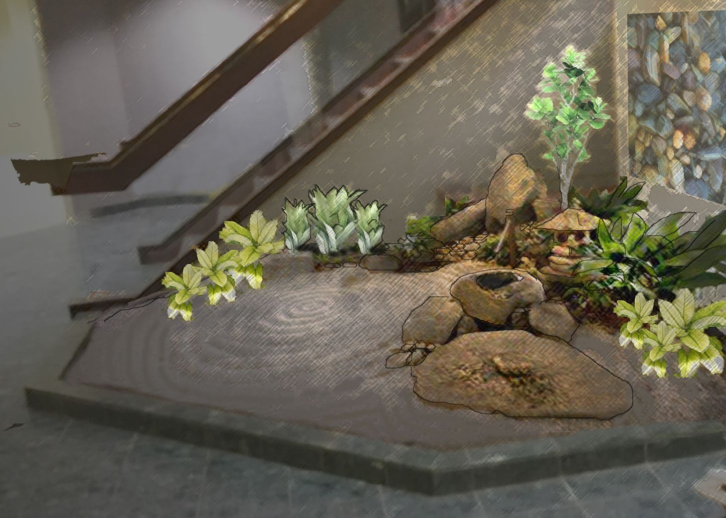 Indoor Zen Garden Ideas Indoor Zen Garden W Stone Fabric Display Met Office Bldg