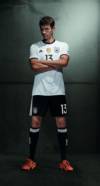 new arrival c6ac3 8daf1 Thomas Müller modelling the new kit for UEFA EURO 2016 ...