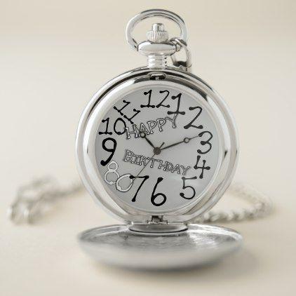 Novelty Watch Happy Birthday 70 Silver Pocket Watch Accessories