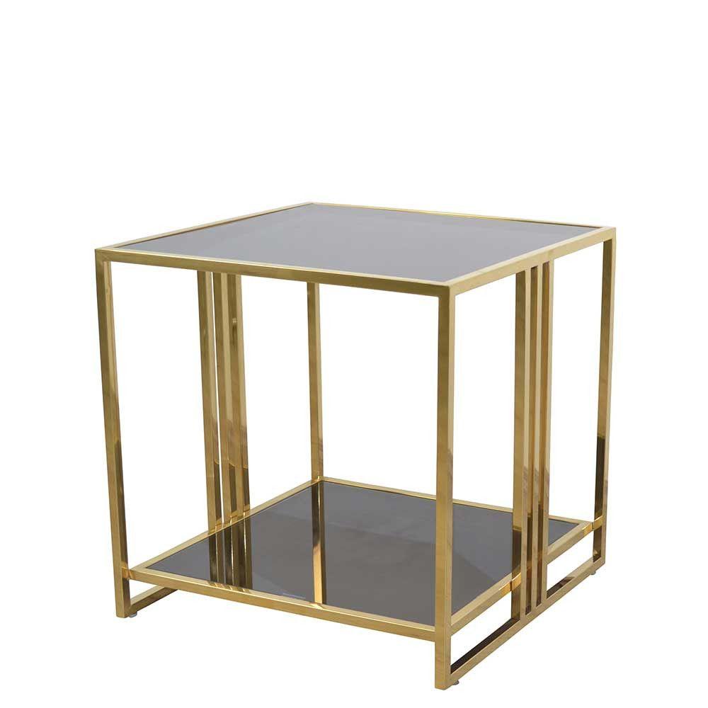 50x50x50 Beistelltisch In Schwarz Gold Aus Glas Stahl Nandora Beistelltisch Beistelltisch Buche Schwarzes Gold