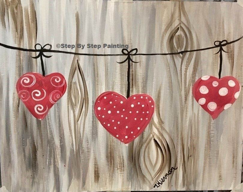 How To Paint Hearts on A String - Tracie's Acrylic Canvas Tutorials