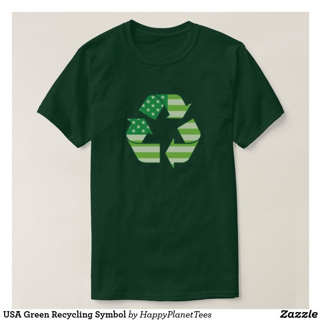 Usa Green Recycling Symbol T Shirt Zazzle Com Green Recycling Recycle Symbol Protest Tees