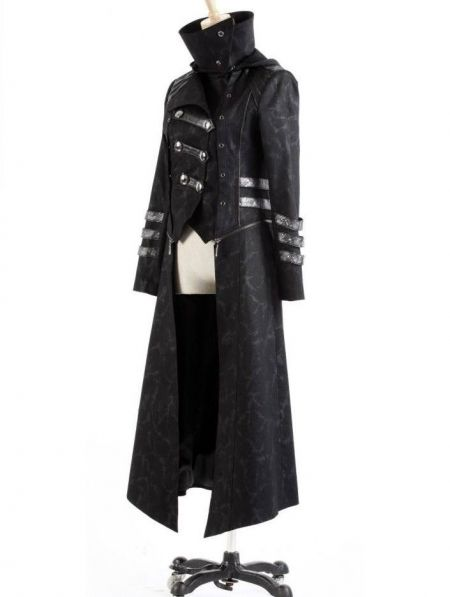 Black Long to Short Gothic Military Trench Coat for Women and Men ...