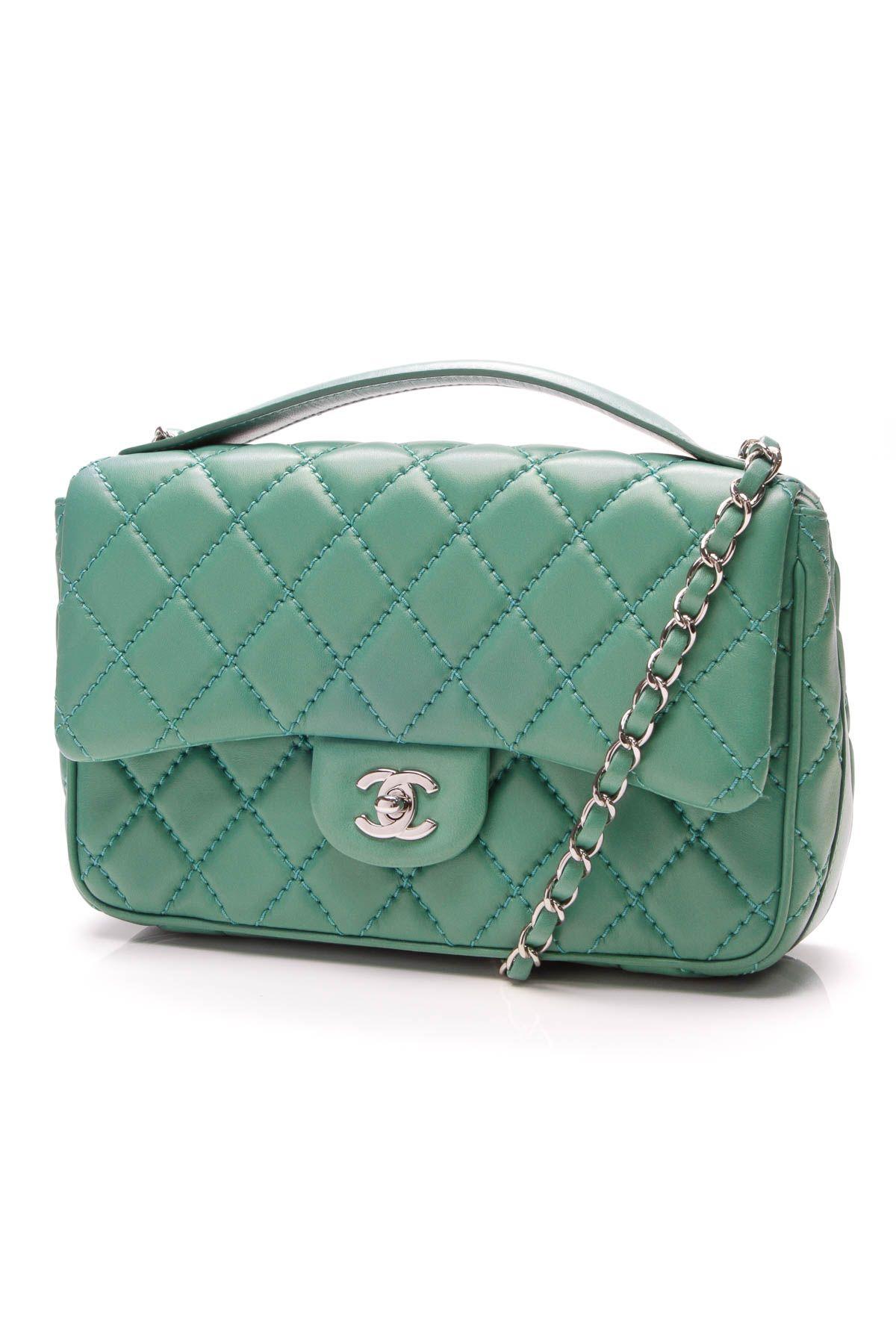 90ab9ae9eb74 Chanel Easy Carry Medium Flap Bag - Green Lambskin | On The Bright ...