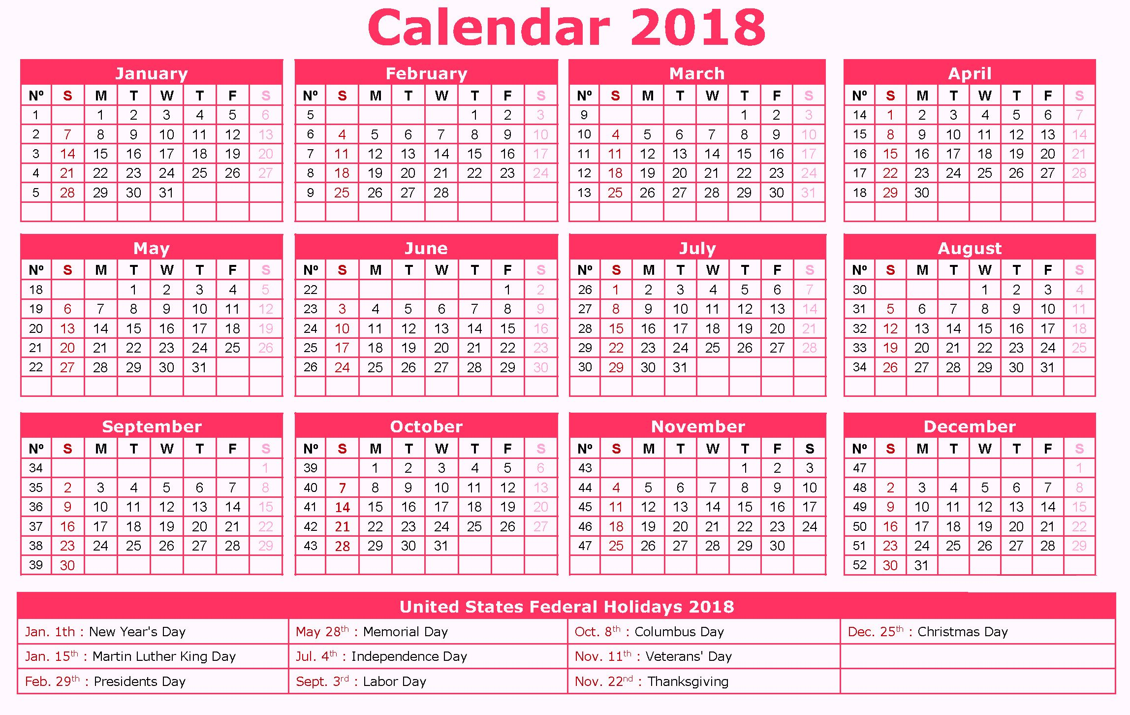 12 month us holidays calendar