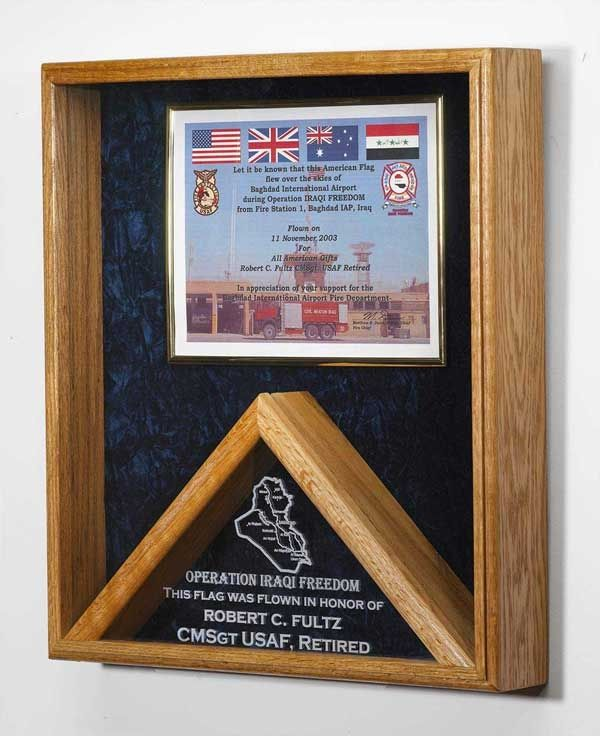 memorial flag certificate display case shadow box military flags ...