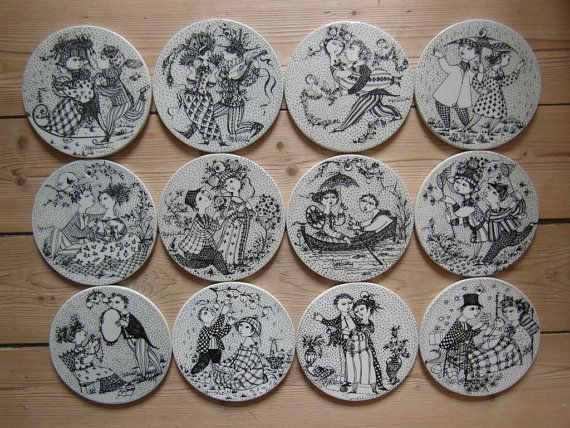 Bjørn Wiinblad - SET of 12 month plaque / plate - whole year - for Nymølle Denmark - mid century