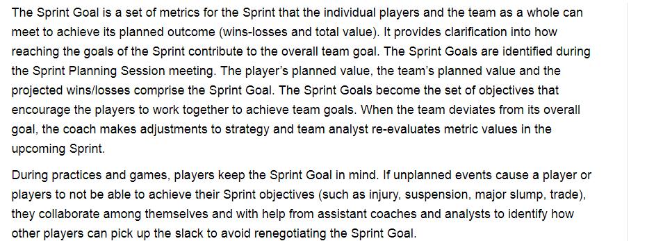 Agile Sports Framework The Sprint Goal Goals Team Goals How To Plan