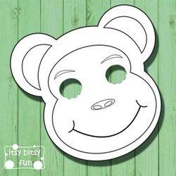 printable monkey masks templates free cores criança e máscaras