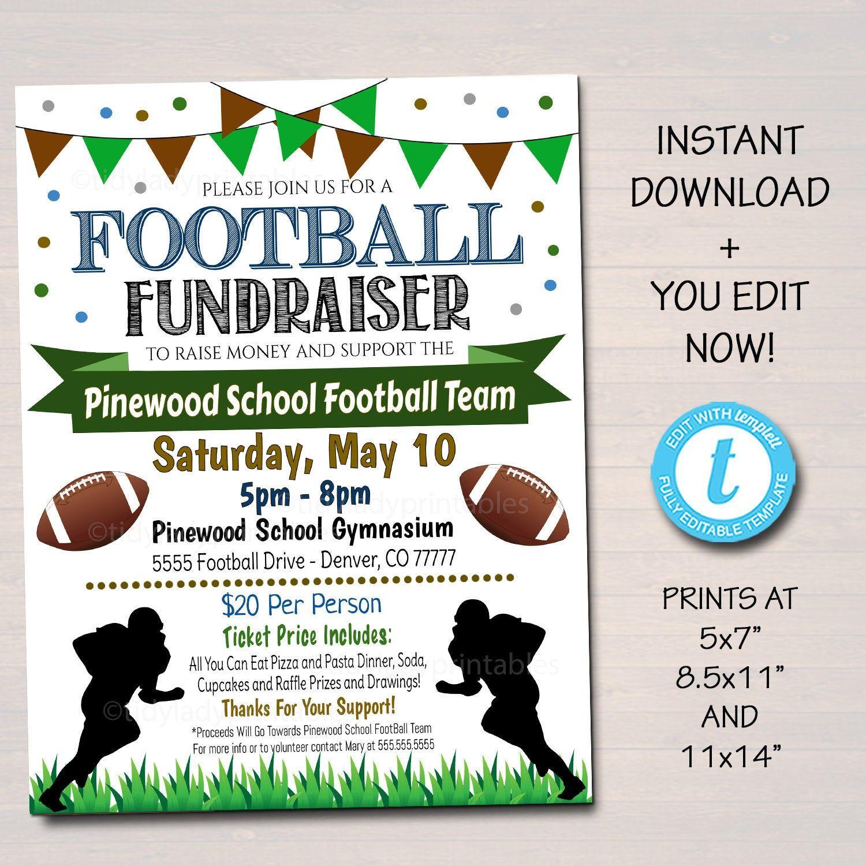 Editable Football Fundraiser Flyer Printable Pta Pto Flyer