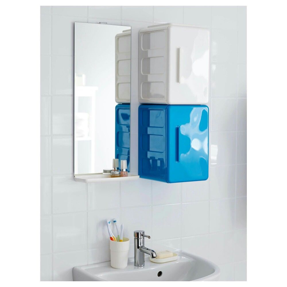 Photo Image IKEA LEJEN Mirror with shelf Perfect in a small bathroom May be used as a shelf for a soap dish and toothbrush mug thanks to the depth of the frame