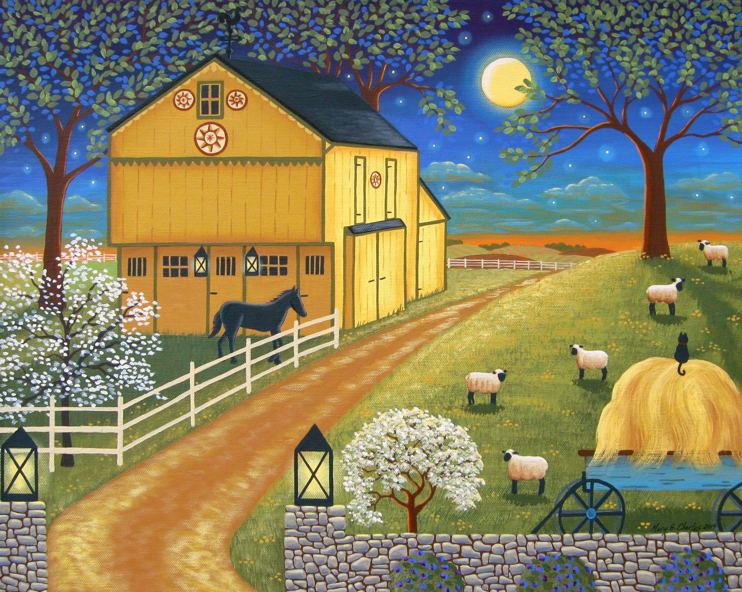 Mascot Mills Barn Original Folk Art Painting By Mary