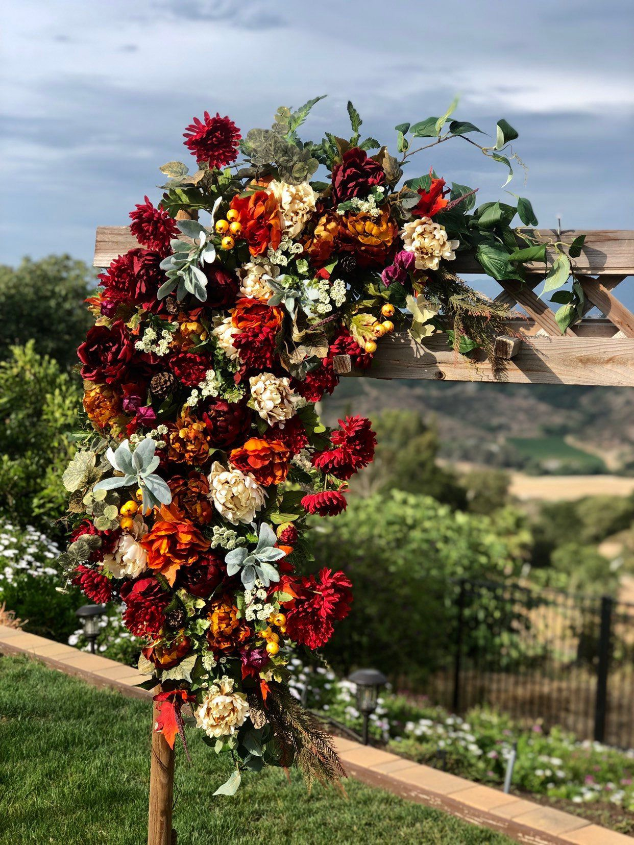 Fall Wedding Ceremony Arch, Fall Floral Swag, Fall Circle