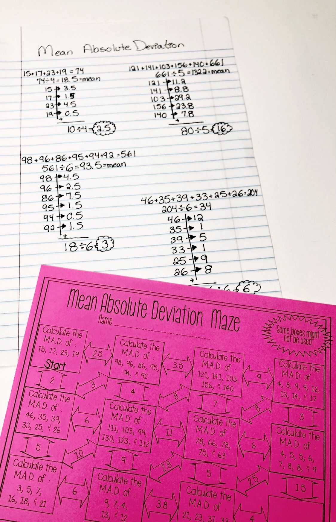 Mean Absolute Deviation Worksheet - Maze Activity   8th grade math  worksheets [ 1744 x 1124 Pixel ]
