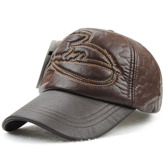 Faux leather Cap fall winter outdoors Sports casual snapback baseball cap 93ac48decdf