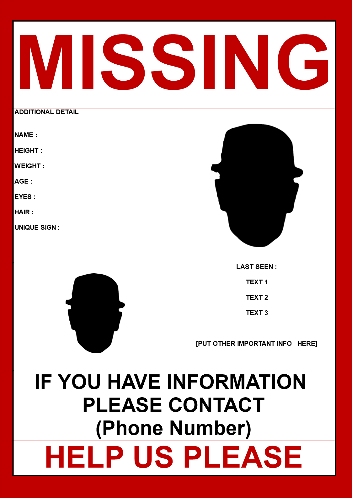 Missing person poster template 2 images Missing person poster 2 – Missing Person Poster Template