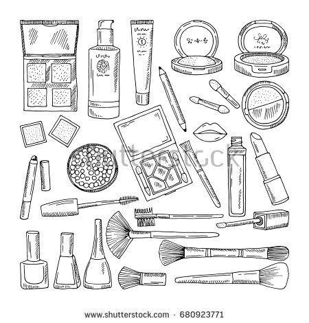 Doodle illustrations of woman cosmetics. Makeup tools for