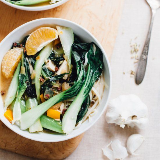 Miso + citrus + bok choy + brown rice noodles + szechuan peppercorns is savory, easy, and delicious!