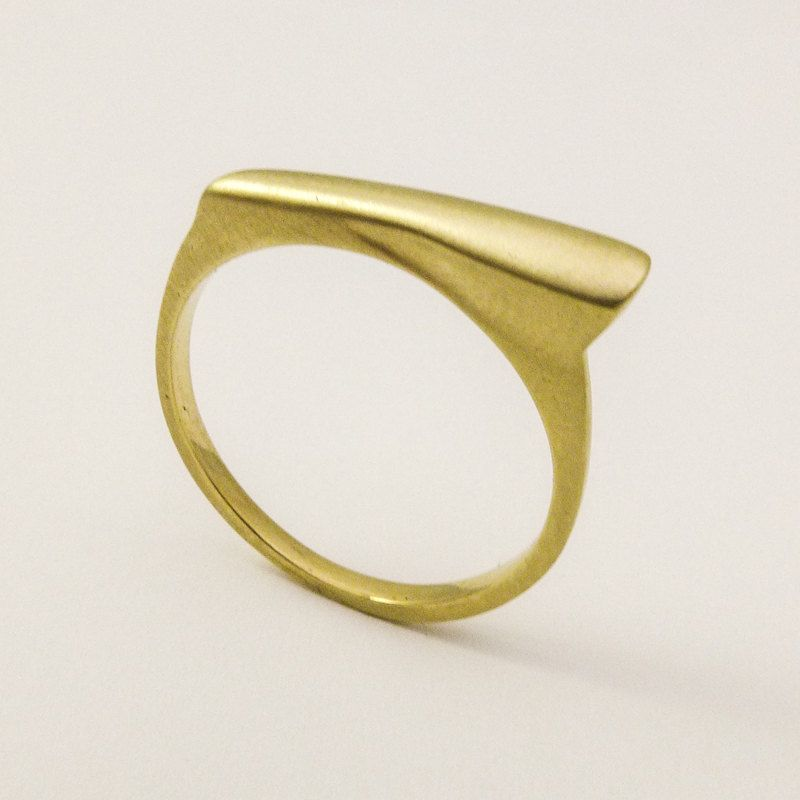 ON SALE 14 karat solid gold signet ring Geometric gold ring