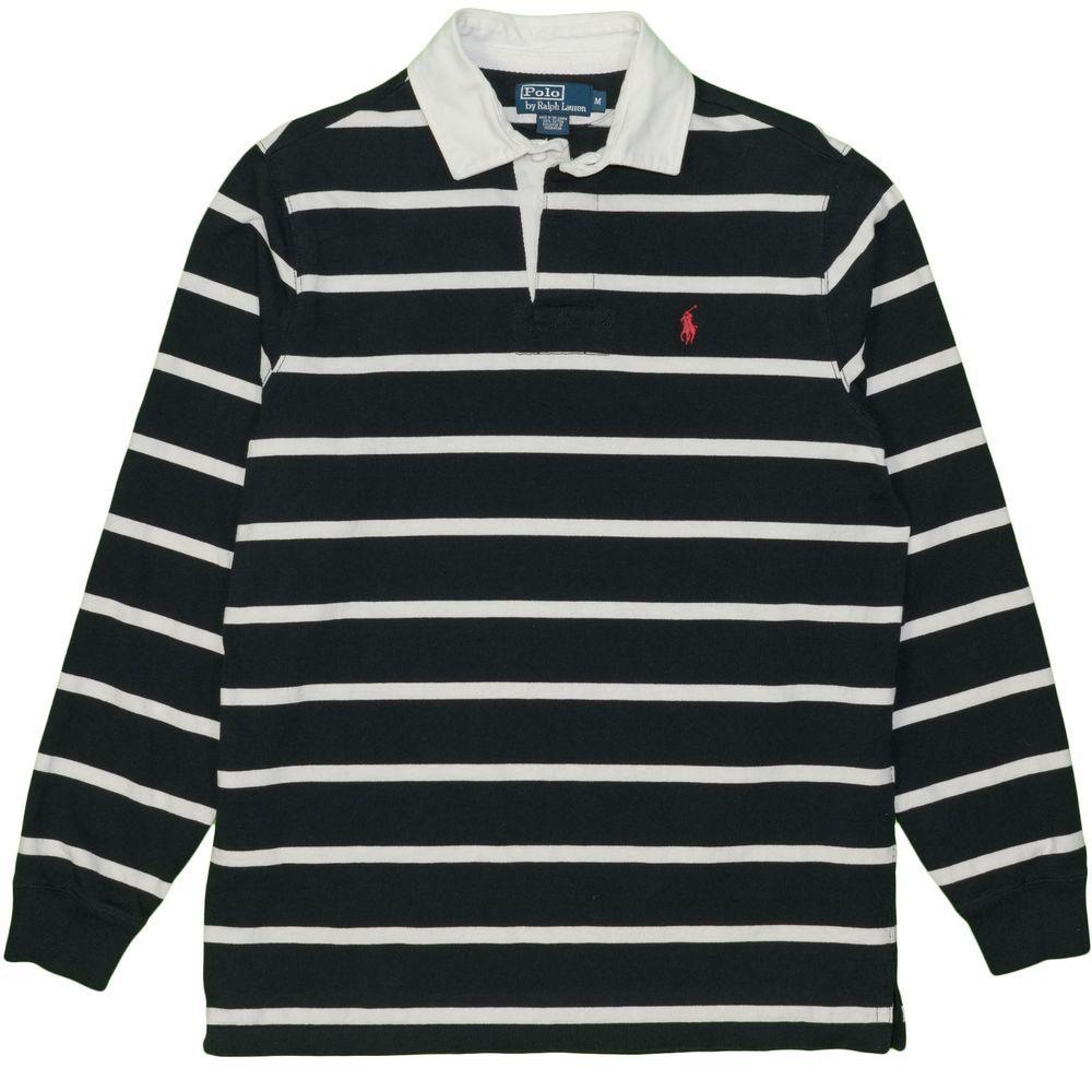 Polo Ralph Lauren Shirt Medium Vintage Long Sleeve Rugby Black