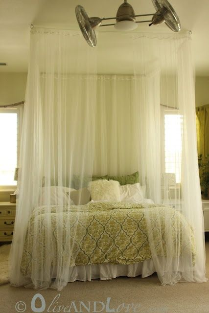 Sheer Curtain Canopy Bed