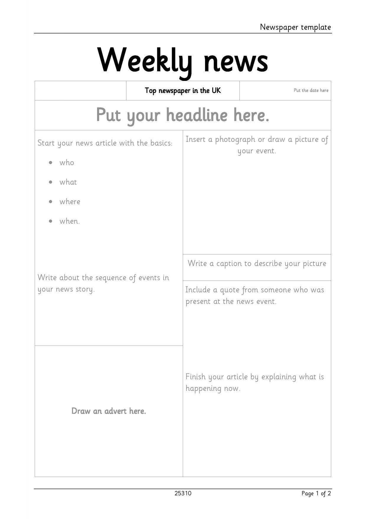 Newspaper Template For Microsoft Word. Newspaper