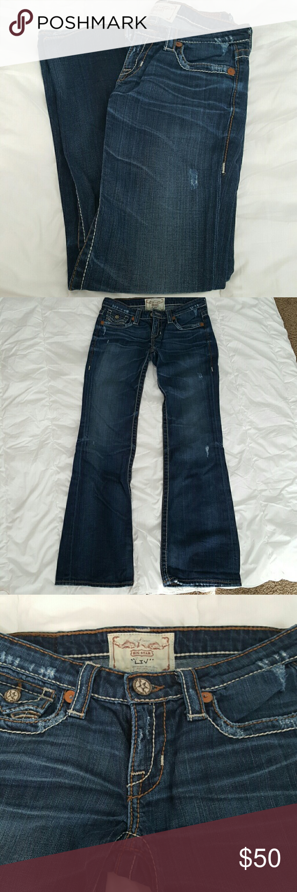"Big Star ""Liv"" Awesome Big Star ""Liv"" jeans. Excellent condition. Size 27R. Inseam 30. Big Star Jeans Flare & Wide Leg"