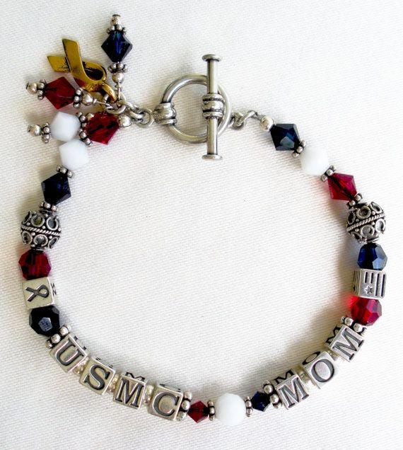 usmc bracelet mom sterling silver united states marine. Black Bedroom Furniture Sets. Home Design Ideas