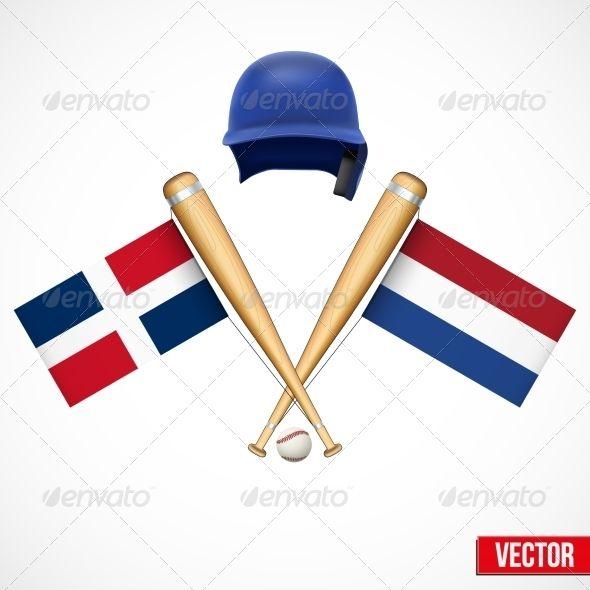 Dominican Republic And Netherlands Baseball Symbol Baseball Team