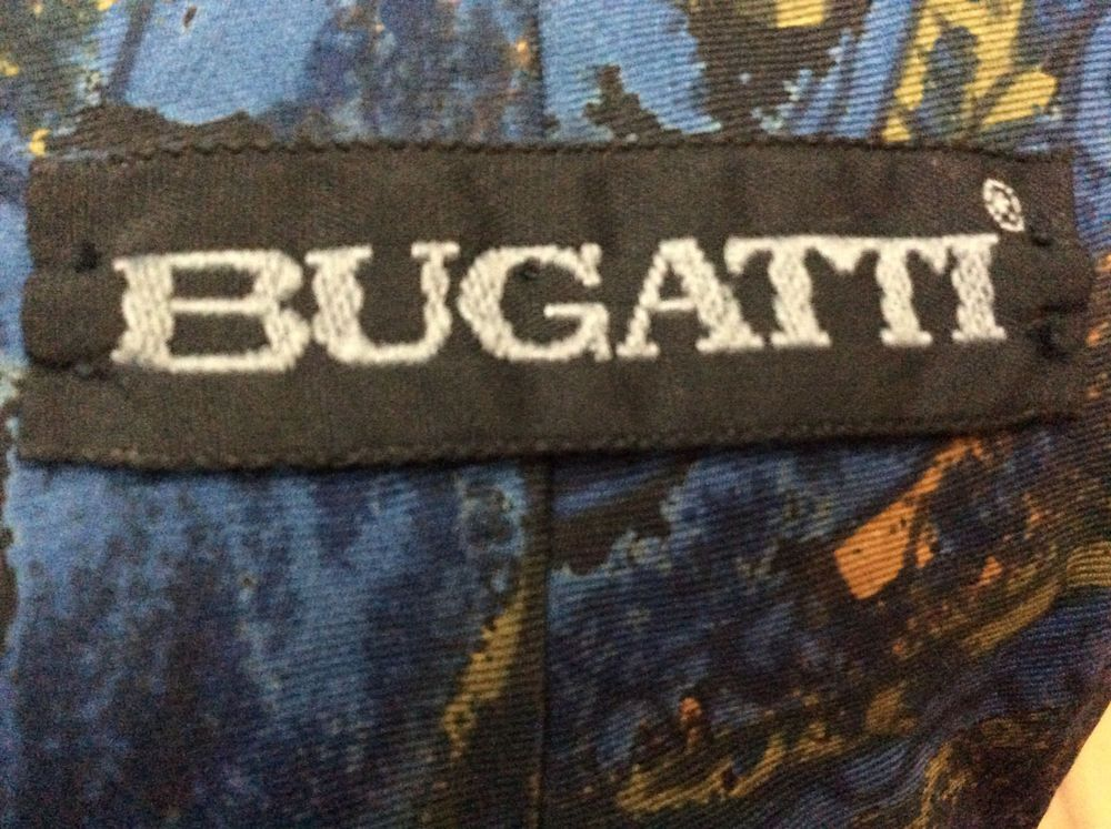 b4a218443e96 Mens BUGATTI 100% Italian Silk Blue Abstract Art Print Necktie Tie #Bugatti  #Tie