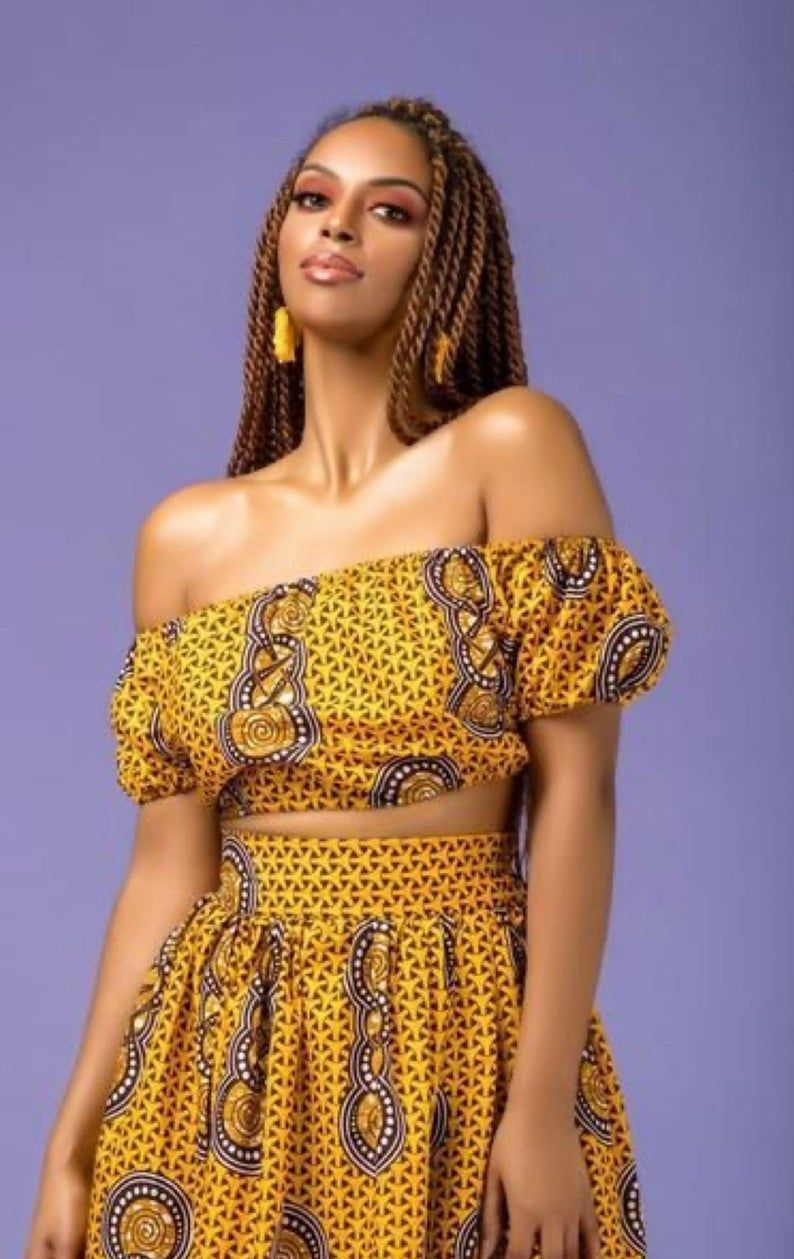 Beautiful 2 piece african print wax off shoulder crop top with high waisted long skirt the ivory ankara crop top and maxi skirt